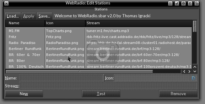 WebRadio EditStations Window